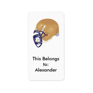 gold and blue football helmet vector graphic label