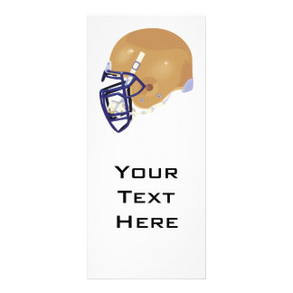 gold and blue football helmet vector graphic rack card