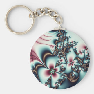 Gold and Blue Fractal Flowers Key Chain