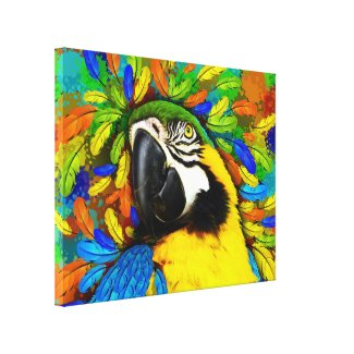 Gold and Blue Macaw Parrot Fantasy Canvas_Print Canvas Print