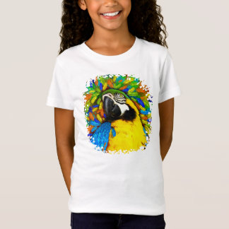 Gold and Blue Macaw Parrot Fantasy Girl T_Shirt T-Shirt