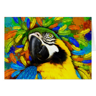 Gold and Blue Macaw Parrot Fantasy Greeting_Cards Card
