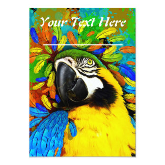 Gold and Blue Macaw Parrot Fantasy Invitation_Card Card