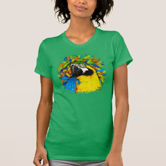 Gold and Blue Macaw Parrot Fantasy Woman T_shirts T-Shirt