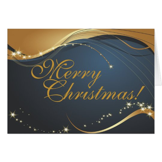 Gold and Blue Merry Christmas Card