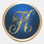 Gold and Blue Monogram K Envelope Seal Round Sticker