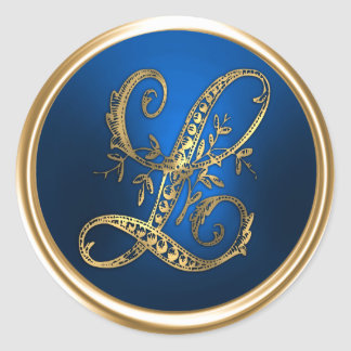 Gold and Blue Monogram L Envelope Seal