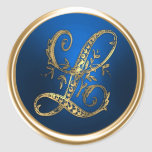 Gold and Blue Monogram L Envelope Seal Stickers