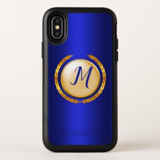 Gold and Blue Monogram Pearl OtterBox iPhone Case