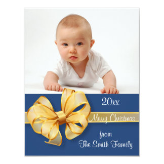 "Gold and Blue Photo Christmas Card 4.25"" X 5.5"" Invitation Card"