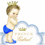 """Gold and Blue Prince Baby Boy Cutout<br><div class=""""desc"""">Beautiful blue and gold prince baby shower acrylic sculpture can be personalized and used as a cake top and table decoration and used in baby&#39;s nursery. This adorable blue prince baby shower decoration also makes a perfect personalized gift for a baby boy.</div>"""