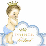 """Gold and Blue Prince Baby Shower Statuette<br><div class=""""desc"""">Beautiful blue and gold prince baby shower acrylic sculpture can be personalized and used as a cake top and table decoration and used in baby&#39;s nursery. This adorable blue prince baby shower decoration also makes a perfect personalized gift for a baby boy.</div>"""