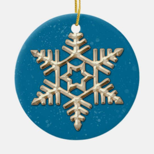 Gold and Blue Snowflake Holiday Ornament