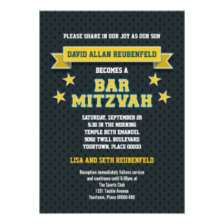 Gold and Blue Sports Tackle Twill Bar Mitzvah Custom Announcements
