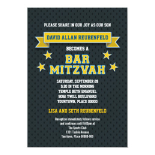 Gold and Blue Sports Tackle Twill Bar Mitzvah Invitation