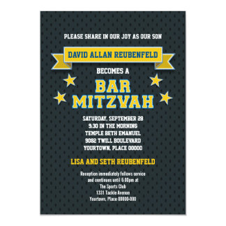 Gold and Blue Sports Tackle Twill Bar Mitzvah 5x7 Paper Invitation Card