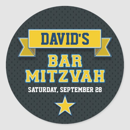 Gold and Blue Sports Tackle Twill Bar Mitzvah RSVP Round Sticker