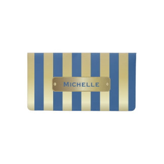 Gold and Blue Stripes | DIY Background Color Checkbook Cover