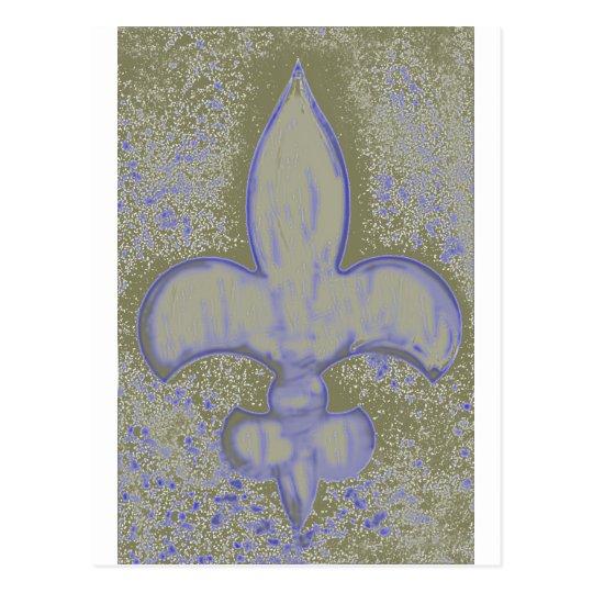 Gold and Blue Textural Fleur De Lis Postcard