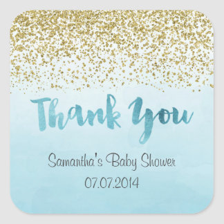 Gold and Blue Thank You Stickers