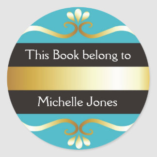 Gold And Blue This Book Belongs To Bookplates Classic Round Sticker