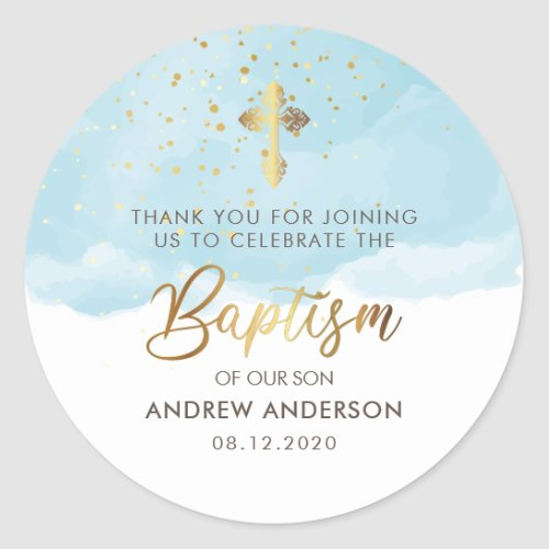 Gold And Blue Watercolor Boy Baptism Thank You Classic Round Sticker