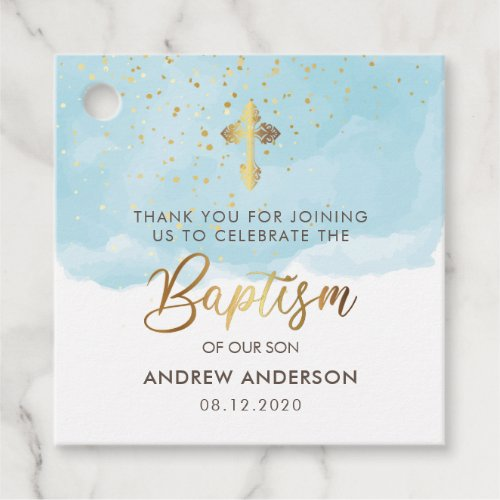 Gold And Blue Watercolor Boy Baptism Thank You Favor Tags