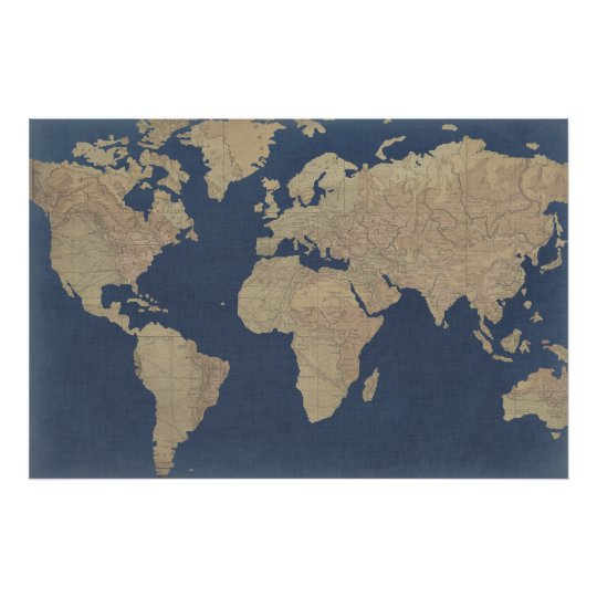 Gold World Map Poster.Gold And Blue World Map Poster Zazzle Com