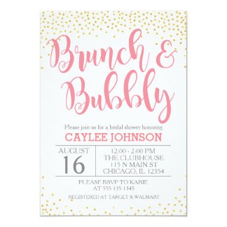 Gold and Blush Brunch and Bubbly Shower Invitation