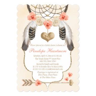 Gold and Blush Dreamcatcher Boho Bridal Shower Card