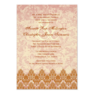 Gold and Blush Lace and Grunge Damask Wedding V01 5x7 Paper Invitation Card
