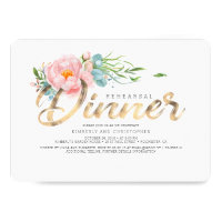 Gold and Blush Pink Florals Rehearsal Dinner Invitation