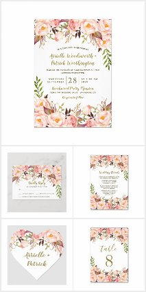 Gold and Blush Pink Peony Wedding Invitations Set