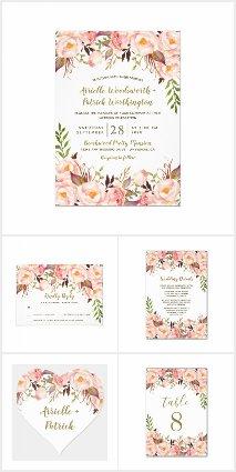 Gold and Blush Pink Peony Wedding Invitations Set