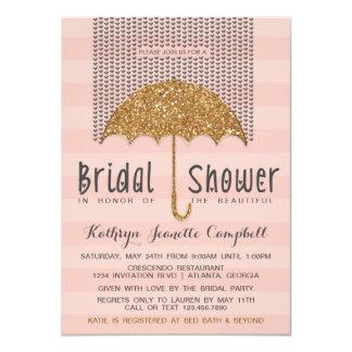 Gold and Blush Umbrella & Hearts Bridal Shower Card