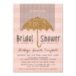 Gold and Blush Umbrella & Hearts Bridal Shower Announcement