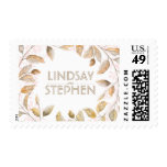 Gold and Blush Watercolor Branches Wreath Wedding Postage