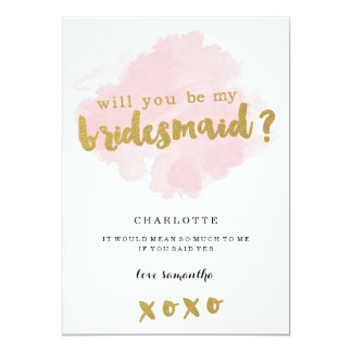 Gold and Blush Will You Be My Bridesmaid? Invitation