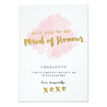 Gold and Blush Will You Be My Maid of Honor? Invitation