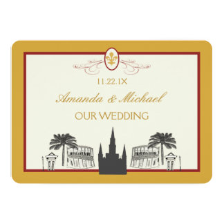 Gold and Bordeaux New Orleans Scenes Save the Date Card