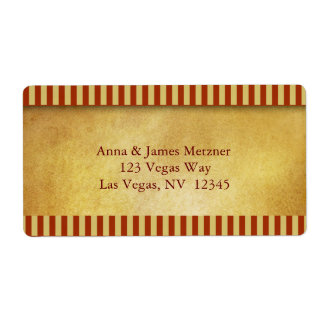 Gold and brick stripes label