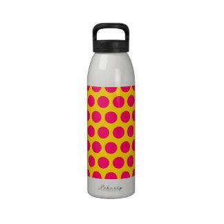 Gold and Bright Pink Polka Dots Reusable Water Bottles