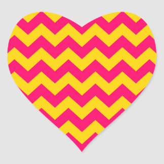Gold and Bright Pink Zigzag Heart Sticker
