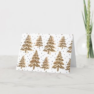 Gold And Brown Christmas Trees Card