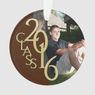Gold and Brown Class of 2016 GraduationPhoto Ornament