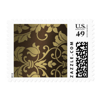 Gold and Brown Damask Brocade Baroque Postage