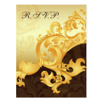 """gold and brown"" elegance RSVP cards"