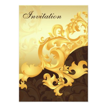 """gold and brown""elegance wedding invitation"