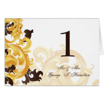 """gold and brown"" Elegant table seating card"