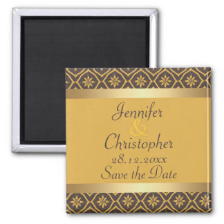 Gold and Brown Floral Diamond Damask Save the Date 2 Inch Square Magnet